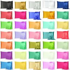 Satin Silk Pillowcase Pillow Case Cover King Queen Standard Cushion Cover New