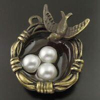 12X Vintage Bronze Tone Alloy Bird Nest Olivet Egg Charm Pendant 24*20*8mm