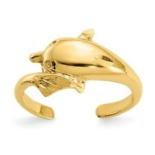 Diamond-cut Dolphin Toe Ring 14K Yellow Gold Polished and