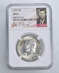 MS65 1966 - Kennedy Half Dollar Silver Graded NGC *451