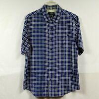 Nat Nast Men's Short Sleeve Silk Button Front Camp Shirt Size M Medium Blue