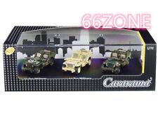 CARARAMA 1/72 1/4 TON MILITARY VEHICLE 3 CARS SET GREEN KHAKI CAMOUFLAGE 71314M