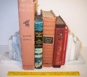 1950's Vintage Art Deco Heavy 9 Pound Pair Stacked White Marble Antique Bookends