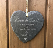 Personalised Slate Hanging Heart - Engraved for Wedding Anniversary Engagement