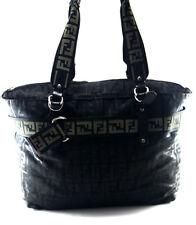 FENDI Black Nylon Logo Print Shoulder Bag