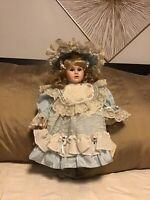 "Handcrafted Camelot Porcelain Doll 16""QVC Cloth Body Vintage Elizabeth"