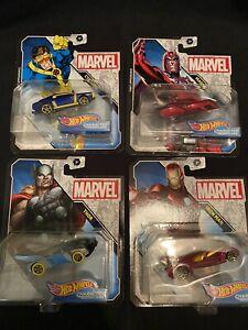Hotwheels Marvel Character Cars (Cyclops,Magneto,Thor,Ironman)