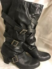 Exhilaration slouch boots, size 8 1/2, black, mid-calf height, 3 buckled design