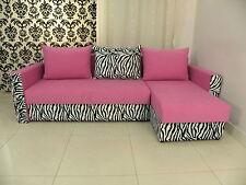 SPRING SALE, 2STORAGES, SPRINGS, SOFA BED BRISTOL pink/zebra, 2MEN DEL TO ENGL