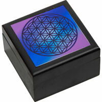 Velvet Lined Printed Clear Top Jewelry Box - Flower of Life