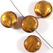 Lot de 4 perles en verre Feuille d'Argent Galets 20mm Topaze