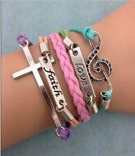 NEW Infinity Faith Love Cross Note Leather Charm Bracelet plated Silver DIY