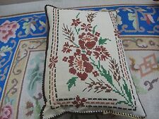"Vintage Hand Embroidered Cross Stitch Sampler on Linen 14"" x 20"" pillow cushion"