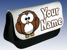 BROWN OWL PERSONALISED PENCIL CASE / MAKE UP BAG /DS BAG - GREAT NAMED GIFT