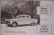 1956 Ford Zephyr Saloon Original Autocar magazine Road test