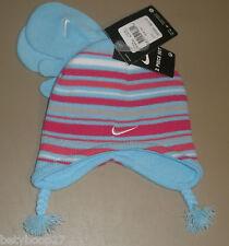 Nike Blue Pink White Striped Winter 2 Piece Hat Mitten Set Girls Size 2T/4T NWT