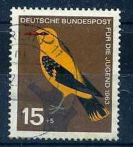 ALLEMAGNE Féd. 1963 yv 274 oiseau, merle doré, oblitéré
