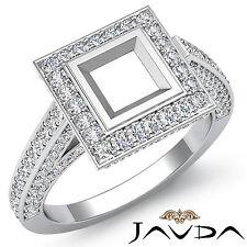 Diamond Engagement Natural Princess Cut Semi Mount Halo Ring 1.25Ct Platinum 950