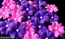 PINK & PURPLE sugar sugarpaste edible flower blossom cupcake topper 3 cm