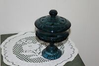 VINTAGE.....DARK  BLUE...  FOOTED  CANDY  DISH  W/  LID.....