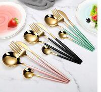 4Pcs/set Black Gold Cutlery Set  Stainless Steel Dinnerware Silverware Flatware