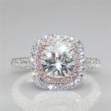 2Ct White Cushion Cut Diamond Pink Halo Engagement Ring In 925 Sterling Silver