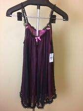 Betsey Johnson NWT Black Pink Sexy Babydoll Chemise Small Nightgown Lingerie