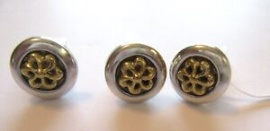 Brighton Push Pins- Set of Three- silver color- gold color flowers- round
