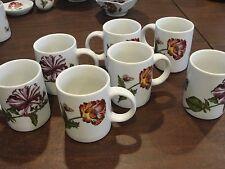 "Cordon Bleu Caroline 7 Mugs 4"" 2 Difference Flowers"