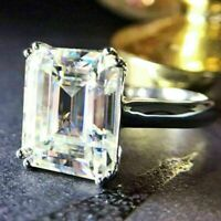 3.00 Ct Emerald Cut White Diamond Solitaire Engagement Ring 14k White Gold