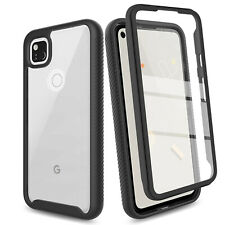For Google Pixel 4a Slim TPU+PC Hard Back Case Cover W/Built-In Screen Protector