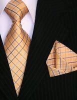Binder de Luxe Designer Krawatte Einstecktuch Krawatten Set Tie 334 gold 2 Tlg