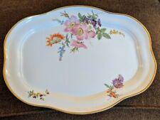 Antique Meissen Porcelain Platter Flowers Floral Pink Dogwood