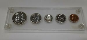 1958 United States Mint 5 Coin Proof Set in Clear Acrylic Holder 90% Silver (G)
