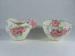 Set Paragon Porcelain Flower Pansy Handle Creamer & Sugar Bowl Made in England