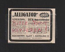HAMBURG, Werbung 1930, Reichborn GmbH Alligator Holzverbinder