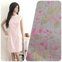 Vintage 60s Pink Cotton Rose Floral Shift Mini Dress Mod Boho 10 12 38