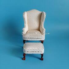 1:12 Dollhouse Miniature Furniture Handcrafted White Plaid Sofa w/Footstool