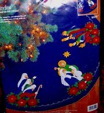 "Bucilla ""HOLY FAMILY NATIVITY"" Felt Christmas Tree Skirt Kit Sterilized RARE OOP"