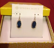 NWT Kendra Scott Lee Blue Drusy Earrings Dust Bag + Box & Bow Included SOLD OUT