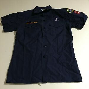 Boy Scouts of America BSA Youth Large Blue Short Sleeve Button Shirt