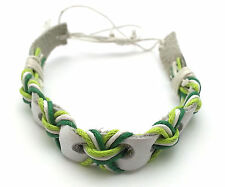 Adjustable White Leather Bracelet with Green Threads
