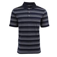 adidas Men's Puremotion Textured Stripe Polo Navy/White S