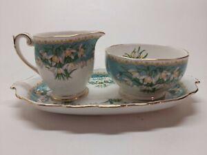 Vintage Queen Anne English Bone China Marilyn Snowdrop Sugar Bowl Creamer Tray