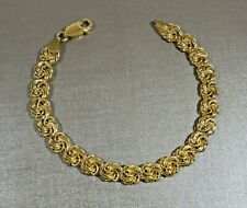 "MILOR ITALY GOLD 925 STERLING SILVER FANCY FLAT LOVE KNOT LINK 7 1/2"" BRACELET"