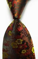 New Classic Floral Brown Yellow JACQUARD WOVEN 100% Silk Men's Tie Necktie