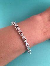 """Tiffany & Co Sterling Silver T Narrow Chain Bracelet  7"""". RRP $950"""