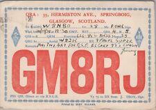 Vintage HAM QSL Radio Cards GM8RJ Glasgow Scotland Used Posted 1939