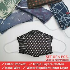 5 Pack of Triple Layers Cotton Face Mask with Nose Wire & Filter Pocket