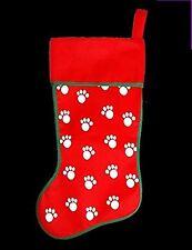 NATALE Santa PET CARINO GATTO Dog Paw Print DESIGN RED STOCKING REGALO SACCO BAG SECRET